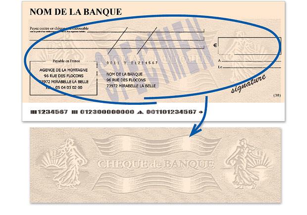 Le chèque de banque - SPECIMEN